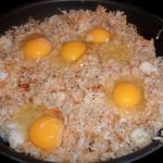 Fried rice Ingredients: 2 cups of day old rice Low sodium soy sauce 4-6 eggs Pepper Oil