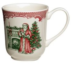 Johnson Brothers Old Britain Castles Pink Christmas Mug with Santa: Amazon.com: Kitchen & Dining