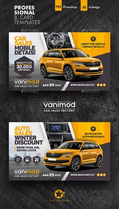 Buy Car Sales Business Card Templates by grafilker on GraphicRiver. Car Sales Business Card Templates Fully layered INDD Fully layered PSD 300 Dpi, CMYK IDML format open Indesign or. Web Design, Web Banner Design, Flyer Design, Corporate Design, Graphic Design, Car Banner, Best Banner, Business Card Design, Business Cards