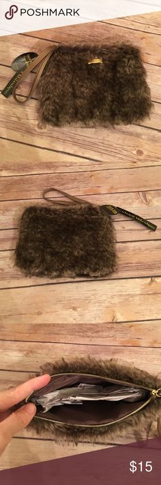 Catherine Malandrino faux fur wristlet NWT and super fun! Faux fur. 8 inches long and 6 inches tall. Catherine Malandrino Bags Clutches & Wristlets