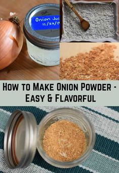 Garden Quotes How to Make Onion Powder - Easy & Flavorful.Garden Quotes How to Make Onion Powder - Easy & Flavorful Dehydrated Onions, Dehydrated Food, Homemade Spices, Homemade Seasonings, Spice Jars, Spice Mixes, Dehydrator Recipes, Food Processor Recipes, Onion Juice
