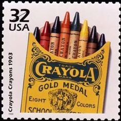 Wikipedia Crayola ~ United States 32 cent postage stamp featuring a vintage eight-color crayon box Commemorative Stamps, Postage Stamp Art, Going Postal, Vintage Stamps, Vintage Tools, Vintage Box, Love Stamps, Stamp Collecting, My Stamp