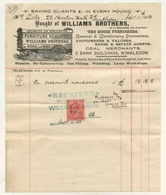 Wimbledon Pictorial Letterhead Williams Bros Removal Furniture 1903