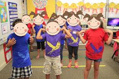 "Ice breaker for the first day--cut out face shapes and let each child decorate their own faces. Then play a game--""if you have blue eyes put your hands on your shoulder"" etc. and look around to see who has what. Great what to get to know each other and incorporate myself week into it."