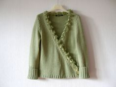 Mint Green Knit Jacket Knitted Cardigan Light Green Sweater Pullover Elegant Romantic Betty Barclay