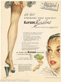 KAYSER LINGERIE AD WOMEN'S FASHION Vintage Advertising 5 MAY 1951 Original