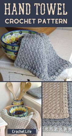 Grab this free hand towel crochet pattern as a perfect weeknight project! Make this in just a few hours and use in your own kitchen or use this free crochet pattern to gift to others! Crochet Towel, Crochet Dishcloths, Crochet Hooks, Crochet Baby, Knit Crochet, Knit Cowl, Crochet Granny, Hand Crochet, Quick Crochet