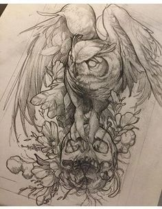 Eye catching tattoo sketches design ideas 45 - Tier-Tattoo Vorlagen - Tattoo World Owl Tattoo Drawings, Tattoo Sketches, Animal Drawings, Drawing Sketches, Drawing Animals, Skull Drawings, Sketch Tattoo Design, Owl Tattoo Design, Sketch Design