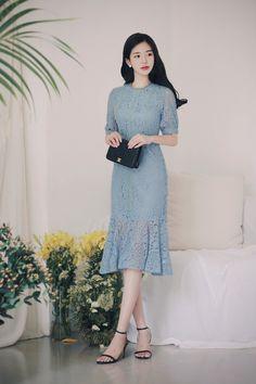 daily 2018 feminine & classy look Korean Fashion Dress, Ulzzang Fashion, Asian Fashion, Modest Fashion, Fashion Dresses, Trendy Dresses, Simple Dresses, Elegant Dresses, Cute Dresses