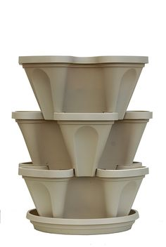 Amazon.com : Mr. Stacky Self Watering 3 Tier Stackable Garden Vertical Planter Set, Stone : Patio, Lawn & Garden