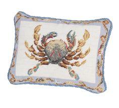 Crab Needlepoint Boudoir/Breakfast Pillow