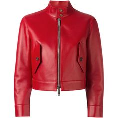 Dsquared2 cropped biker jacket (16.145.025 IDR) ❤ liked on Polyvore featuring outerwear, jackets, red, cropped moto jacket, leather biker jacket, red motorcycle jacket, straight jacket and leather straight jacket