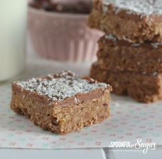 Easy Weetbix Slice Recipe - A Spoonful of Sugar Baking Recipes, Cookie Recipes, Dessert Recipes, Bar Recipes, Healthy Recipes, Healthy Food, Healthy Slices, Yummy Recipes, Baking Desserts
