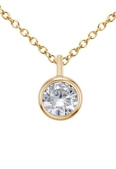 Solitaire diamond and 18k yellow gold necklace bezel set diamond bezel solitaire pendant setting in 14k yellow gold click for your chance to win a mozeypictures Image collections