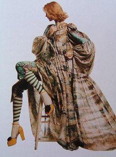 jamaica byles: Bill Gibb: Designer of the year 1970s funky high fashion biba like model magazine gown dress leggings platform shoes long maxi boho