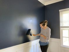 This strong midnight blue hue is dark and alluring like an infinite, moonlit sky. Best Blue Paint Colors, Best Wall Colors, Most Popular Paint Colors, Kitchen Paint Colors, Bedroom Paint Colors, Paint Colors For Living Room, Midnight Blue Color, Gallon Of Paint, Paint Supplies