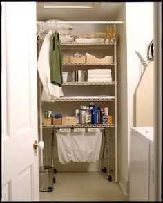 Use an old shower curtain tension rod to make a hang-dry space in your laundry room. | 7 Quick Organizing Ideas You'll Actually Want To Try This Week