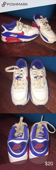 Nike kids size 11 shoes. Can be for a boy or girl. Can be for a girl or boy. Red, white & blue. My daughter wore for one of our Fourth of July events A few scuff marks but nothing major. Super cute & comfy! ****Pet free & Smoke free home🚭**** Nike Shoes Sneakers