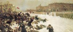 El Domingo Sangriento ocurrió el 9 de Enero de 1905, fue el día del masivo fusilamiento por el gobierno zarista, hacia una marcha pacífica integrada por miles de mujeres, hombres y niños peterburgueses, en dirección al Palacio de Invierno para la entrega de demandas al Zar Nicolás II. Tras la noticia de la sangrienta represión contra los trabajadores de Petersburgo provocó una oleada de huelgas en todo el país bajo el lema ¡ Abajo el absolutismo!