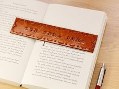This inspirational hand tooled leather bookmark is handmade from real leather and individually hand stamped lettering to read Que Sera Sera. Leather Bookmark, Leather Keyring, Leather Gifts, Leather Books, Leather Tooling, Leather And Lace, Leather Craft, Tooled Leather, Real Leather