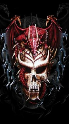 Tattoo Biker Rock Mens T-shirts, Asian Chinese Dragon Gothic Vampire Skull T-shirt Dark Fantasy Art, Dark Art, Dragon Tattoo With Skull, Dragon Tattoo Designs, Skull Artwork, Dragon Artwork, Skull Pictures, Dragon Pictures, Fantasy Creatures
