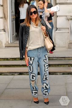 Saud looks amazing in her jeans from Ashish. She finished off her outfit with a Chanel bag and a pair of black Louboutins. #blackballad #streetstyle #fashion