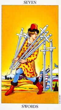 Seven of Swords Tarot: Shows the difficulty of deception or sneaking away rather than dealing with it. In the long run deception will not produce rewards. It may cause significant damage to your relationships & reputation. REVERSED: You're finding it difficult to take the first step or having setback after setback. Do things different to release from old behavior's & limiting beliefs. Don't stay trapped into thinking that you can only do things that are familiar. Set broader horizons.