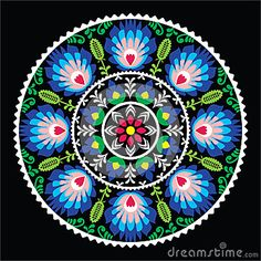 Polish Traditional Folk Art Pattern In Circle - Wzory Lowickie On Black Stock Illustration - Image: 47355092