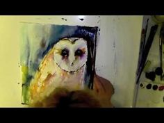 barn owl water colour color aquarelle demonstration