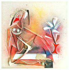 """die rote vase"", 50x50cm, leinwand, holz, farbe, collage, w. schieweck, 5/16"