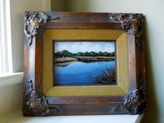 Framed Painting is a Lovely Little Landscape in a Stunning Vintage Frame