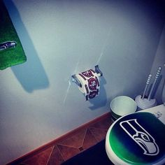 A bathroom newly remodeled by a Seahawks fan -- perfect down to the last detail