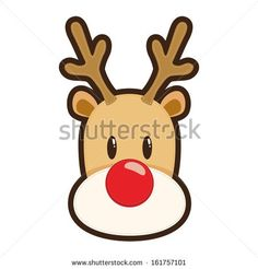 Vector illustration of a face of Rudolf red nosed reindeer