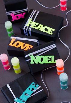 I love the black paper with the neon tags. Neon Glitter Holiday Gift Tags: easily modified to suit any occasion. Easiest using a craft cutting machine like a Silhouette, Cricut, Robocraft, etc., but not beyond a sure hand and sharp craft knife Wrapping Ideas, Wrapping Gift, Creative Gift Wrapping, Christmas Gift Wrapping, Christmas Tag, Holiday Gift Tags, Holiday Crafts, Holiday Fun, Holiday Wishes