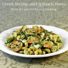 Greek Shrimp and Spinach Pasta  #WeekdaySupper - Greek seasoned shrimp and pasta, feta cheese, spinach are added to this quick and easy supper that can be on the table in 30 minutes or less.