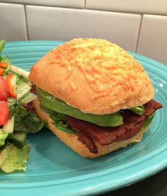 BLAT: Bacon, Lettuce, Avocado and Tomato with  Sweet Earth Benevolent Bacon on a Trader Joe's Rosemary Roll