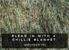If you plan of fleeing or bugging out solo then a ghillie suit might be the perfect, but if you have children you may want a ghillie blanket? Survival Shelter, Camping Survival, Survival Prepping, Emergency Preparedness, Survival Gear, Survival Skills, Survival Books, Survival Stuff, Survival Equipment