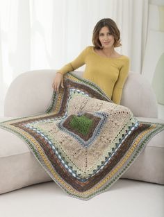 Medallion Sampler Afghan ~ A great way to learn new stitches, from Lion Brand