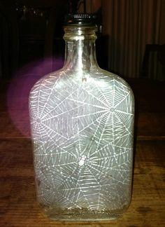 Vintage Liquor or Poison Bottle Glass with Spiderweb Spider Hip Flask