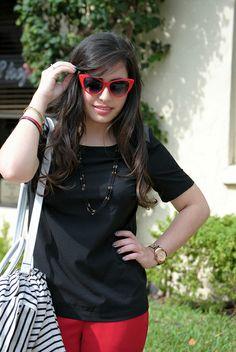 Retro red #cateye sunglasses