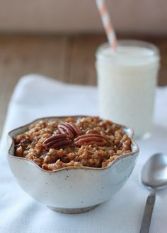 Crock Pot Pumpkin Pecan Steel Cut Oatmeal