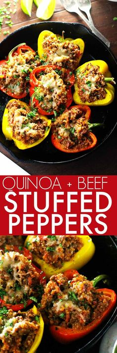 These Southwest Beef & Quinoa Stuffed Peppers make a hearty, healthy, protein packed meal that's amazingly delicious and quick and easy to prepare. Meat Recipes, Dinner Recipes, Cooking Recipes, Healthy Recipes, Recipes With Quinoa, Quinoa Meals, Pepper Recipes, Paleo Food, Ketogenic Recipes