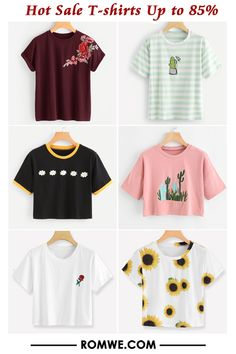 Shop online for the latest collection of T-shirts Hot Sale Up to Find the best styles and deals at ROMWE right now! Cute Outfits For School, Teen Fashion Outfits, Cute Casual Outfits, Tween Fashion, Simple Outfits, Cute Fashion, Outfits For Teens, Stylish Outfits, Teenager Outfits