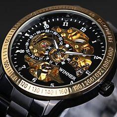 WINNER Herren Totenkopfuhr Mechanische Uhr Armbanduhr Automatikaufzug Wasserdicht Transparentes Ziffernblatt Tachymeter leuchtend