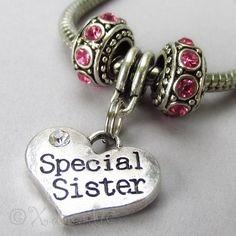 Special Sister European Birthstones Bead Trio For Charm Bracelets