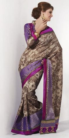 $70 Brown Printed Silk Saree 23660