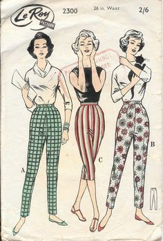 "vintage ""Le Roy"" paper pattern of women's Capri pants Vintage Jahre ""Le Roy"" Papiermuster der Frauen Capri-Hosen 1950 Style, Vintage Outfits, Vintage Dresses, Vintage Pants, 1950 Outfits, Vintage Fashion 1950s, Vintage Mode, 1950s Fashion Women, 1950s Fashion Pants"