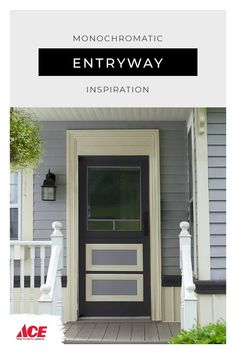 Mixing monochromatic shades of Benjamin Moore exterior paint for a calm and inviting entryway. Painting Studio, Painting Tips, House Painting, Benjamin Moore Exterior Paint, Playroom Design, Ace Hardware, Home Projects, Helpful Hints, Entryway