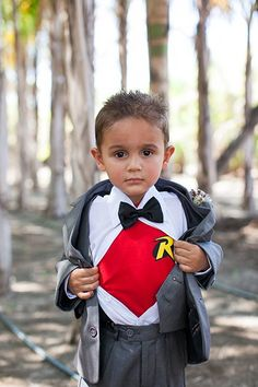 Have your ring bearer don his favorite superhero T-shirt underneath his formalwear and reveal his true identity.Related: 50 Amazing Superhero-Themed Wedding Ideas