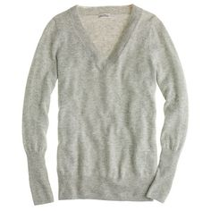 Grey V-Neck Cashmere Sweater